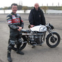 Patrick Walker and Glen English with the new Works Racing Norton at Mallory Park