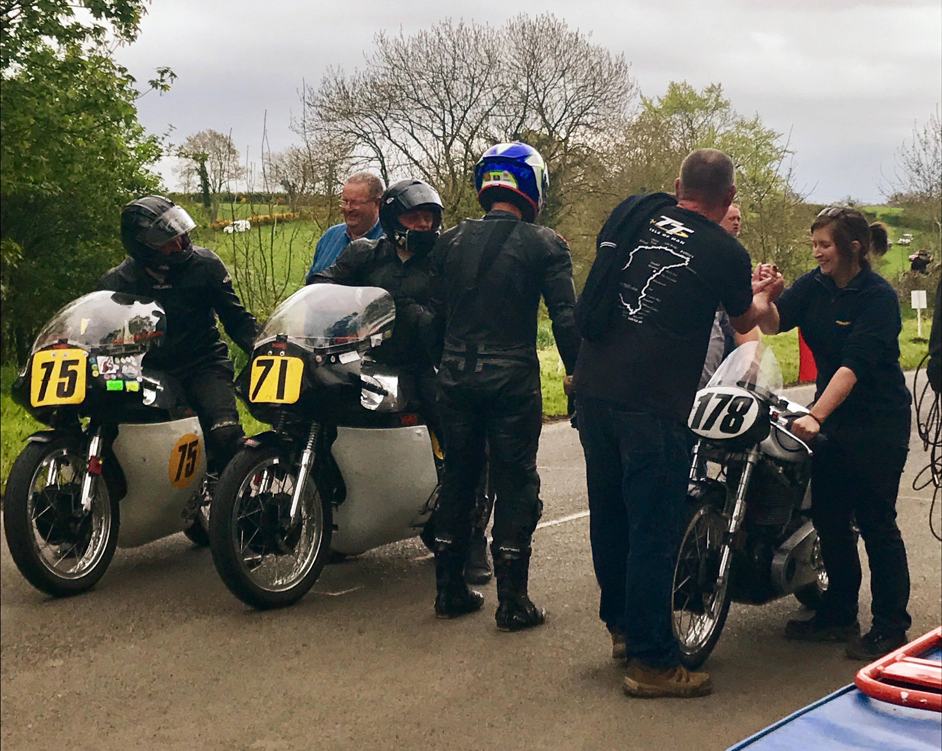 John Leigh-Pemberton, Mark Parrett and Dean Stimpson at the finish.  Thanks to Road Racing Ireland for the picture.